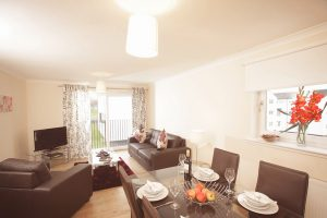 lounge and dining room in serviced accommodation